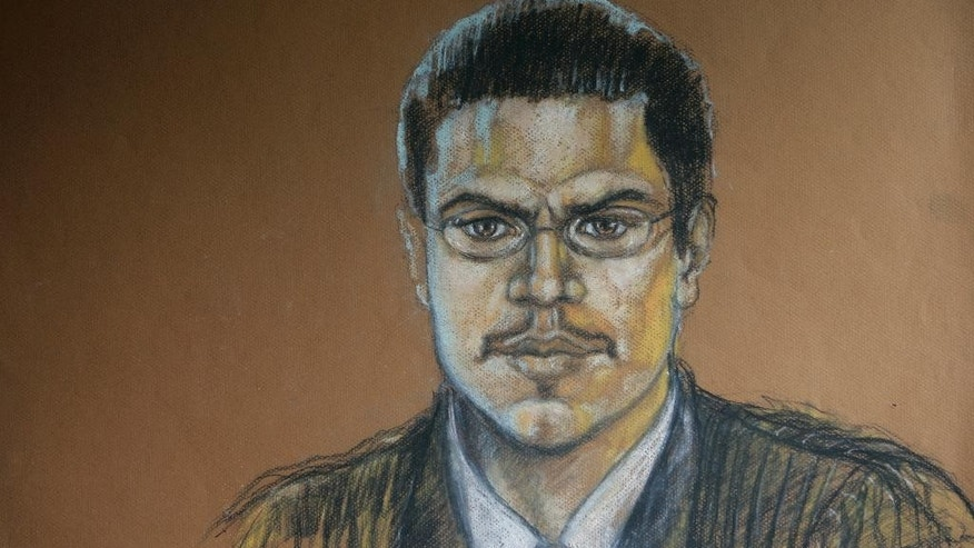 "FILE- This Aug. 16, 2007, file photo, shows a courtroom sketch of Jose Padilla during his terrorism trial in Miami. Padilla is set to be sentenced a second time by a federal judge Tuesday, Sept. 9, 2014 in Miami, because the original prison term of 17 years was too lenient. Padilla was arrested by the FBI in 2002 on what authorities said was an al-Qaida mission to detonate a radioactive ""dirty bomb"" inside the U.S. Those accusations were later discarded. (AP Photo/Shirley Henderson, File)"
