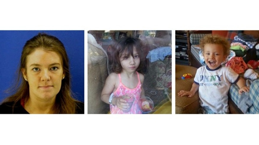 These undated handout images provided by the Montgomery County, Md., Police Department, shows, from left, Catherine Hoggle, Sarah Hoggle and  Jacob Hoggle. Montgomery County police are searching for two young children after police say their mother refused to disclose their whereabouts to her husband. The mothers whereabouts are also unknown. Police say the childrens mother, 27-year-old Catherine Hoggle of Clarksburg, is diagnosed as having paranoid schizophrenia. The missing children are 3-year-old Sarah Hoggle and 2-year-old Jacob Hoggle.