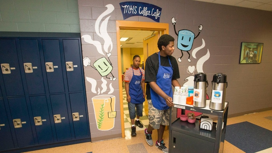 Students in the Workplace Readiness course at Marietta High School operated a coffee cart but due to the recent restrictions on food and drink from the White House, the students are unable to sell the coffee and hot chocolate to students.