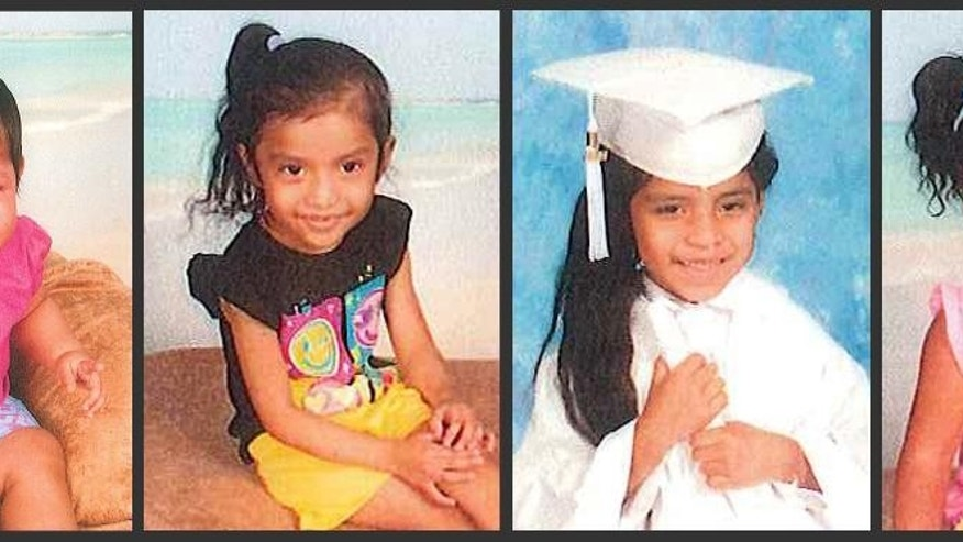 This photo combo of undated photos released Thursday, Sept. 18, 2014, by the Mississippi Department of Public Safety shows four siblings from Canton, Miss., whom authorities say are missing and could be in danger. The children are from left: Mendy Coria-Coronado, 1; Jackelyn Belinda Gomez-Coronado, 5; Kimberly Elizabeth Gomez-Coronado, 6; and Evelin Fernanda Coria-Coronado, 2. The children were last seen with their mother, Sonia Elisabeth Coronado, 28, and stepfather, Fernando Coria-Pelay, 24, who are charged with mistreating the girls. (AP Photo/Provided by Mississippi Department of Public Safety)