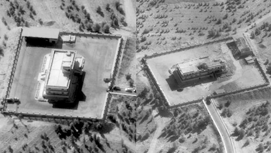 Sept. 23: Pictures showing an ISIL Command and Control Center in Syria before (L) and after it was struck by bombs dropped by a U.S. F-22 fighter.