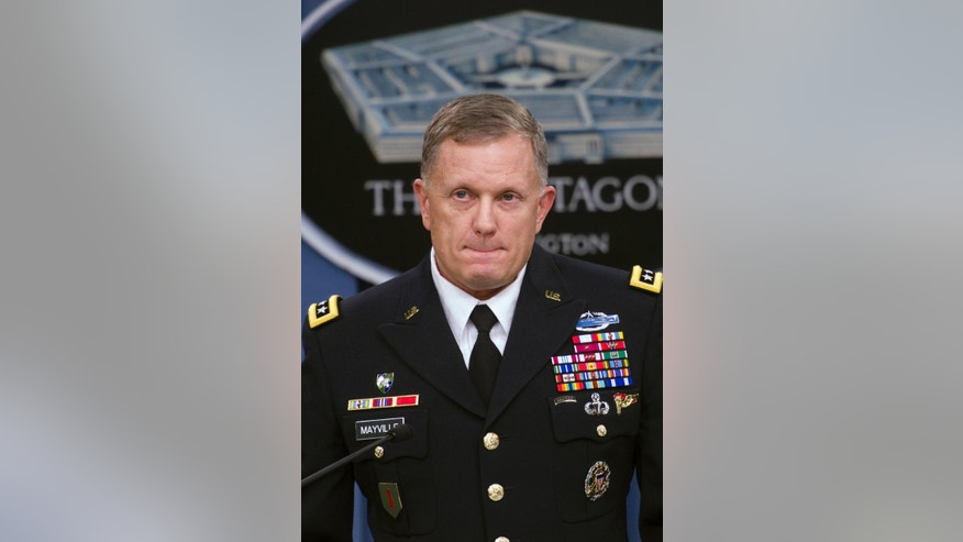 "Army Lt. Gen. William Mayville, Jr., Director of Operations J3, pauses while speaking about the operations in Syria, Tuesday, Sept. 23, 2014, during a news conference at the Pentagon. In a separate action from the air strikes against the Islamic State group, the U.S. bombed a cell of al Qaida militants in northwestern Syria after concluding they were close to attacking the U.S. or Europe, Pentagon officials say. Mayville, the Pentagon's operations chief, said that the Khorasan Group was nearing ""the execution phase of an attack either in Europe or the homeland."" (AP Photo/Cliff Owen)"