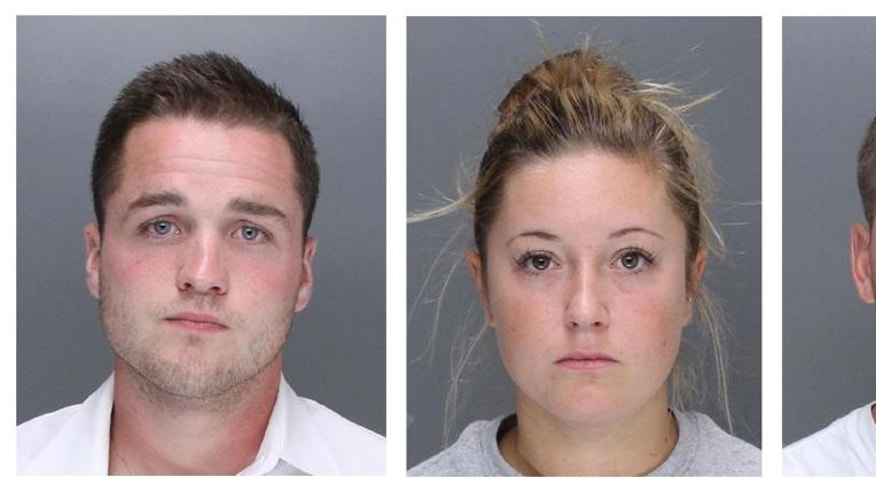 In this undated combination of images provided by the Philadelphia Police Department, Philip R. Williams, left, Kathryn G. Knott and Kevin J. Harrigan are shown. The three suburban Philadelphia defendants are being charged in the beating of a gay couple during a late-night encounter on a city street. (AP Photo/Philadelphia Police Department)