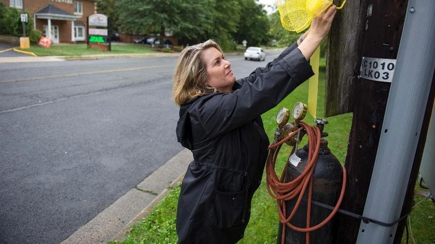 Sept. 25, 2014: Julie Lowe places a yellow ribbon on a utility pole in the Stratford Landing neighborhood in Alexandria, Va. where missing University of Virginia student Hannah Graham grew-up, and her parents still live.