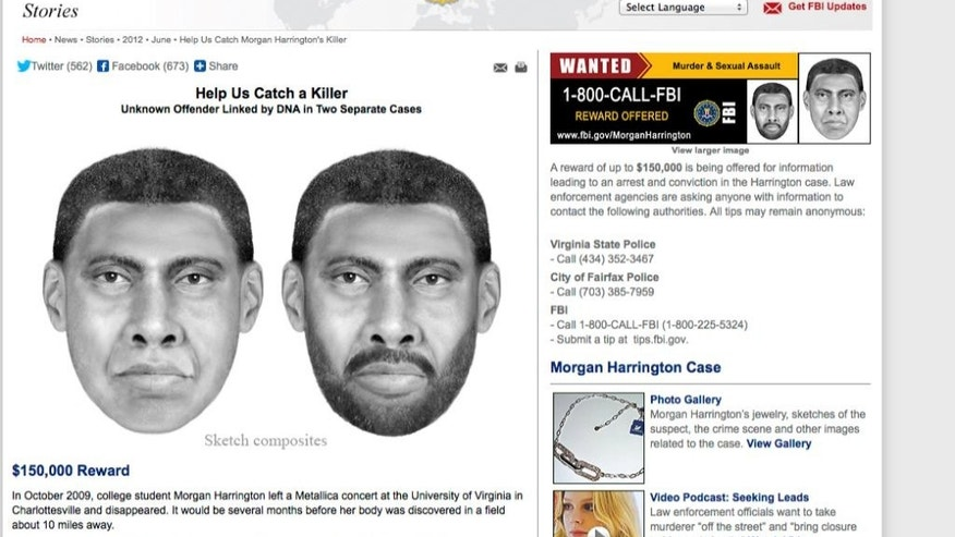 This image provided by the FBI shows sketch composites of a suspect wanted in the death of 20-year-old Morgan Harrington, who vanished while attending a rock concert at University of Virginia in 2009. They both were walking alone, separated from their friends late at night, on or near the University of Virginia campus. One was found dead nearly five years ago. The other is still missing. Now police say there's a link between the 2009 slaying of Morgan Harrington and the Sept. 13 disappearance of Hannah Graham: Forensic evidence found as a result of the arrest of Jesse L. Matthew Jr., who fled the state after being questioned by police in the Graham case. Matthew, 32, was arrested on a beach near Galveston, Texas, last week and brought back to Virginia on a charge of abduction with intent to defile _ or sexually molest _ the 18-year-old sophomore from northern Virginia. If convicted, he could face up to life in prison. His bond hearing is set for Thursday.  (AP Photo/FBI)
