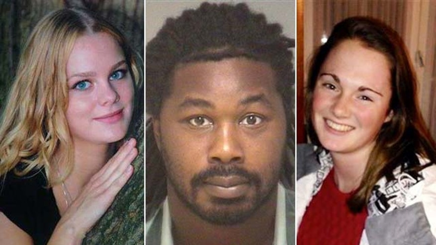 Jesse Matthew Jr., center, is a suspect in the disappearance of Hannah Graham, right. Virginia State Police said Monday he is linked forensically to the 2009 disappearance of Morgan Harrington, left.