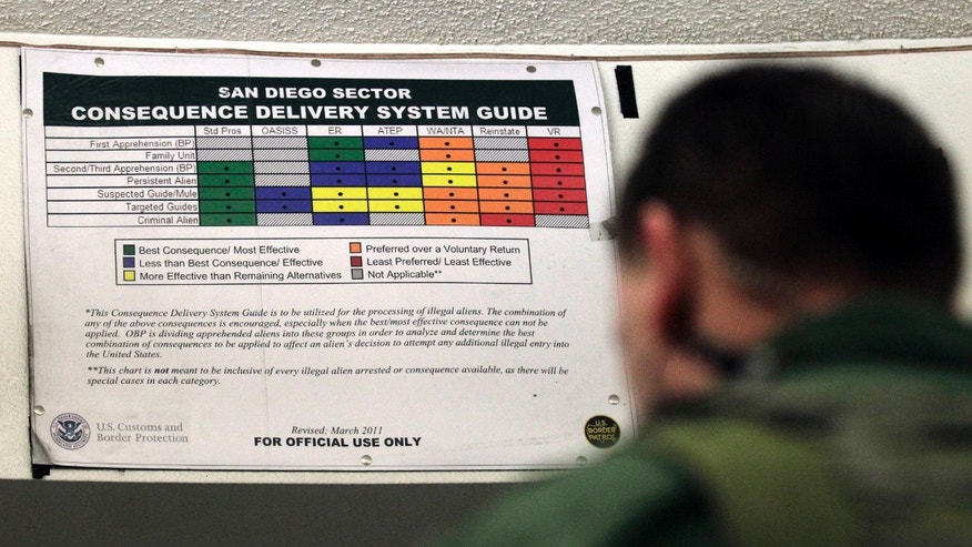 Jan. 11, 2012: A Border Patrol agent works in front of a color-coded chart at a detention center in Imperial Beach, Calif. U.S. Customs and Border Protection officials are seeking to hire roughly 1,600 agents in 2015. (AP/Gregory Bull)