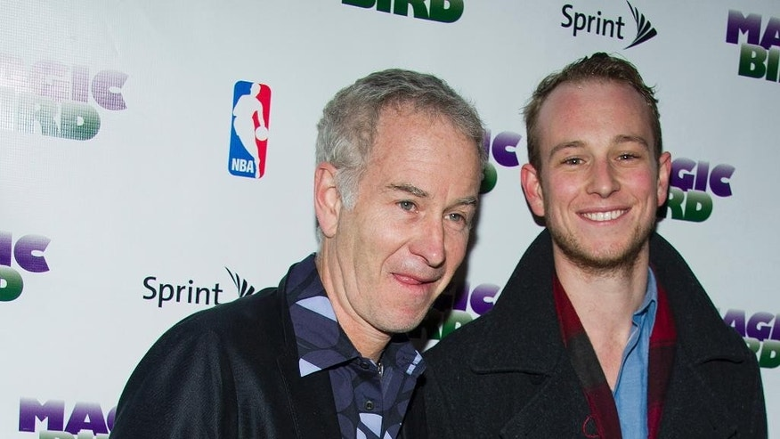 "FILE - In this April 11, 2012 file photo, John McEnroe and his son Kevin arrive for the opening night performance of the Broadway play ""Magic/Bird"" in New York. A son of tennis star McEnroe and actress Tatum O'Neal will get a New York City drug-possession case dismissed if he stays out of trouble and gets treatment. Court records show Kevin McEnroe's case was put on track Tuesday, Oct. 14, 2014, for dismissal if he avoids re-arrest.  (AP Photo/Charles Sykes, File)"