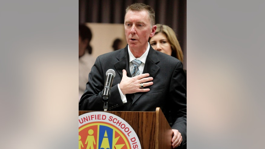FILE - In this Jan. 11, 2011, file photo, John Deasy speaks during a news conference after an announcement making him the newly-appointed Los Angeles Unified School District Superintendent in Los Angeles. Deasy announced his resignation Thursday, Oct. 16, 2014. (AP Photo/Richard Vogel, File)