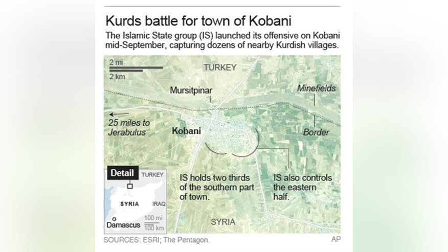 Map of Kobani, Syria.; 2c x 5 inches; 96.3 mm x 127 mm;
