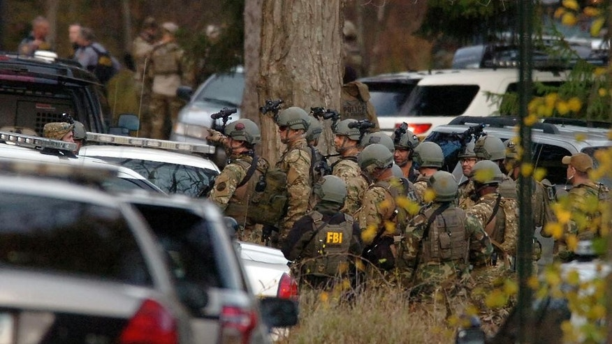 FBI agents prepare to patrol the woods on Lower Swiftwater Road on Saturday, Oct. 18, 2014, during a massive manhunt for killer Eric Frein in Swiftwater, Pa.  (AP Photo / The Scranton Times-Tribune, Butch Comegys)