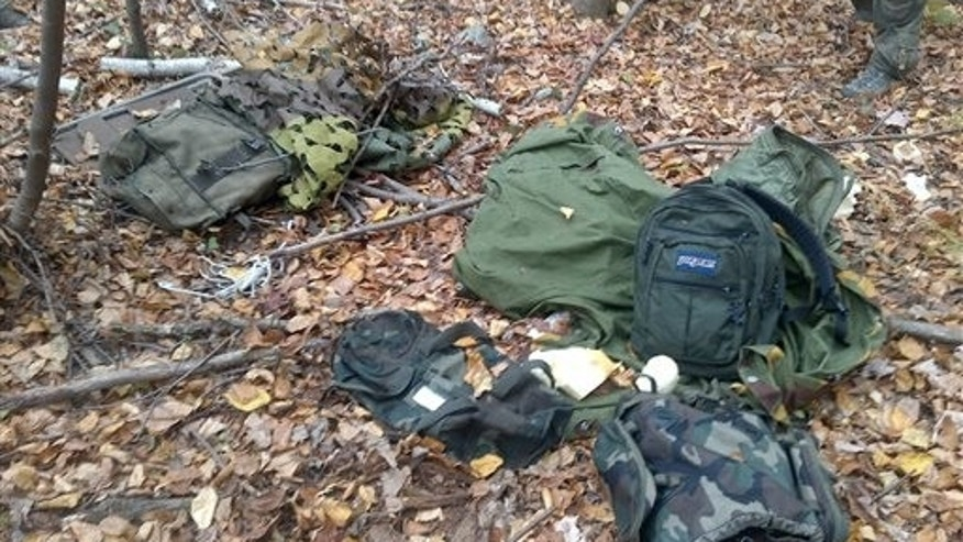 This photo released by Pennsylvania State Police on Oct. 3. shows a campsite near Canadensis, Pa., that officials say was used by Frein.