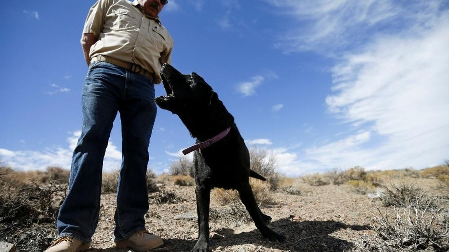 Sept. 20, 2014: Paul Dotsie gets a look and a bark from his dog Buster near Bishop, Calif.