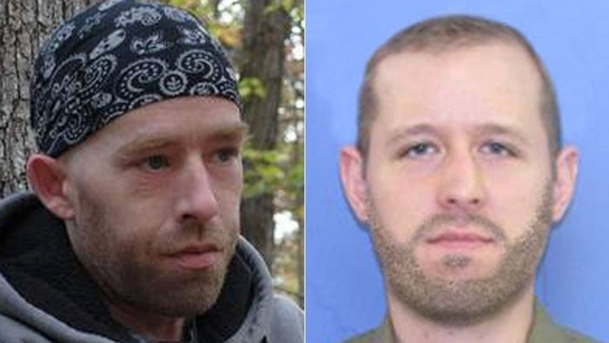 James Tully, left, has been repeatedly mistaken by police for alleged cop killer Eric Frein, right, who remains on the loose.