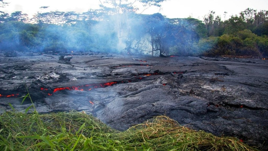 This Oct. 22, 2014 photo provided by the United States Geological Survey shows lava flow slowly moving through thick vegetation and creating thick plumes of smoke as it advances on the town of Pahoa on the Big Island of Hawaii. Frequent methane explosions occur, resulting from cooked vegetation releasing methane which then ignites. The explosions can range from small puffs to loud cannon-like blasts, and are an additional hazard in the immediate area of the flow margin. (AP Photo/U.S. Geological Survey)
