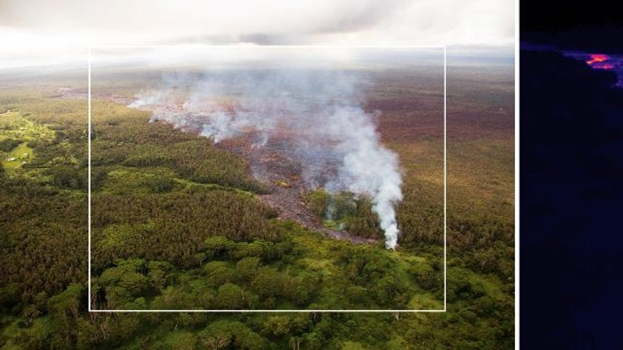 This pair of images released Oct. 22, 2014 by the U.S. Geological Survey shows a comparison of a normal photograph of the lava flow front, left, with a thermal image of the flow that is threatening the town of Pahoa on the Big Island of Hawaii. The white box shows the approximate extent of the thermal image. The thermal image shows that active breakouts (white and yellow areas) are focused along the narrow lobe at the leading edge of the flow, but are also scattered for about 2 km (1.2 miles) behind the flow front. Authorities on Sunday, Oct. 26, 2014 said lava had advanced about 250 yards since Saturday morning and was moving at the rate of about 10 to 15 yards an hour, consistent with its advancement in recent days. The flow front passed through a predominantly Buddhist cemetery, covering grave sites in the mostly rural region of Puna, and was roughly a half-mile from Pahoa Village Road, the main street of Pahoa. (AP Photo/U.S. Geological Survey)