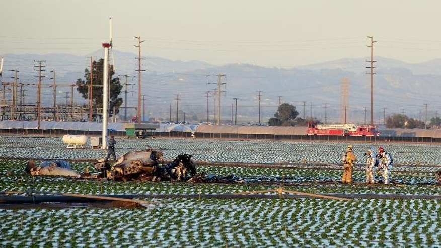 Ventura County and Navy firefighters examine the scene where a military jet crashed into a field near Naval Station Ventura County near Port Hueneme, Calif., killing the pilot Wednesday, Oct. 29, 2014. The plane crashed and disintegrated at around 5:15 p.m. (AP Photo/FLMedia, Johnny Corona)
