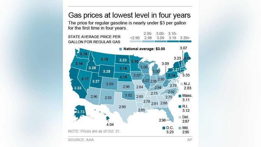 Map shows state-by-state gas prices; 2c x 3 1/2 inches; 96.3 mm x 88 mm;