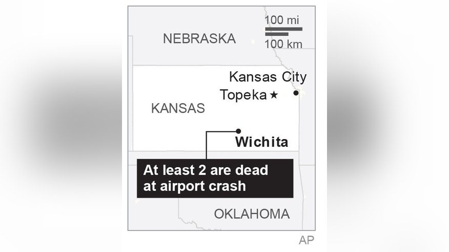 Map locates Wichita airport plane crash.;