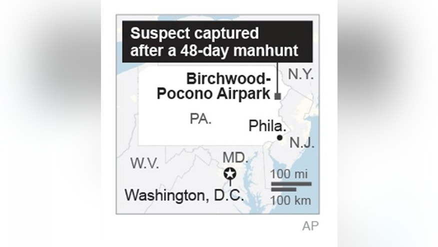 Map locates area of capture following a 48-day manhunt.;