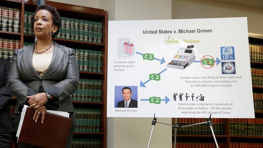 FILE- In this April 28, 2014 file photo, Loretta Lynch, U.S. Attorney for the Eastern District of New York, stands next to a poster displaying the alleged crimes committed by U.S. Rep. Michael Grimm during a news conference in New York. Lynch's name has shown up with increasing frequency as a possible choice to replace outgoing U.S. Attorney General Eric Holder. (AP Photo/Seth Wenig, File)
