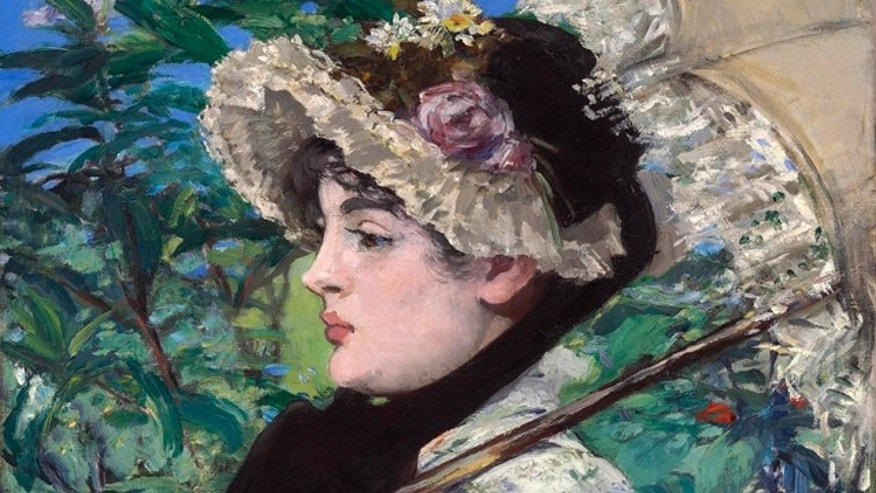 FILE- This undated file photo provided by Christie's shows French Impressionist Edouard Manet's 'Spring'. Manet painted actress Jeanne Demarsy in a floral dress and bonnet in 1881 as an allegory of spring. (AP Photo/Christie's, File)