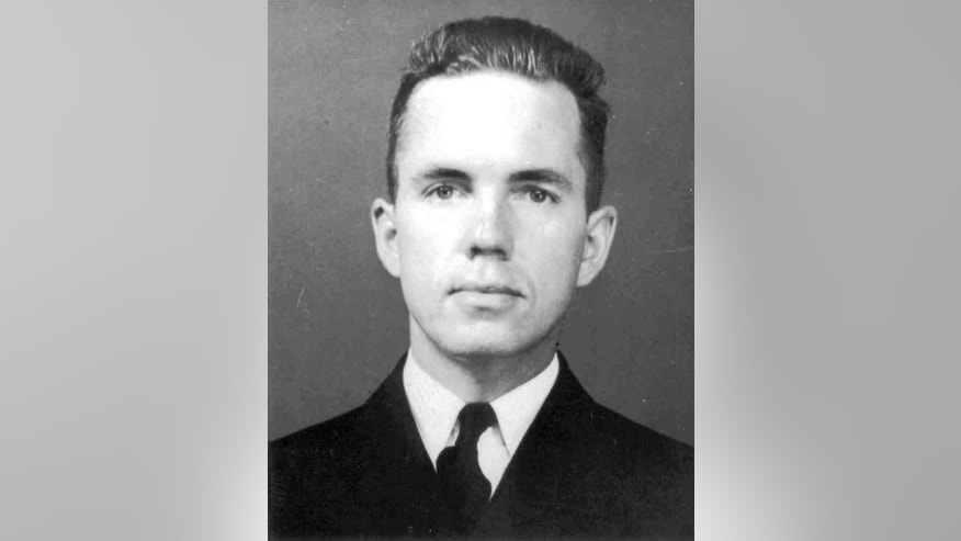 This undated photo released by the U.S. Coast Guard shows Lt. John A. Pritchard's official portrait. Pritchard was trying to save a man left stranded by the crash of a B-17 on Greenland's ice cap in 1942 when his own single-engine plane went down in whiteout conditions. The U.S. Coast Guard Academy in New London, Conn, will formally honor Pritchard, a 1938 graduate, on Friday, Nov. 7, 2014, when he will be inducted into its Hall of Heroes. (AP Photo/U.S. Coast Guard)