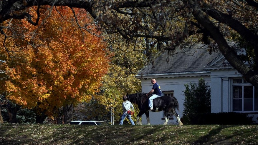 In this Oct. 16, 2014 photo, a volunteer leads former Navy submariner Todd Westerbeck on horseback past one of the dorms at Eagle's Healing Nest, a retreat for veterans, in Sauk Centre, Minn. Westerbeck, who arrived with alcohol problems, graduated to staff and has been clean more than a year. (AP Photo/Jim Mone)