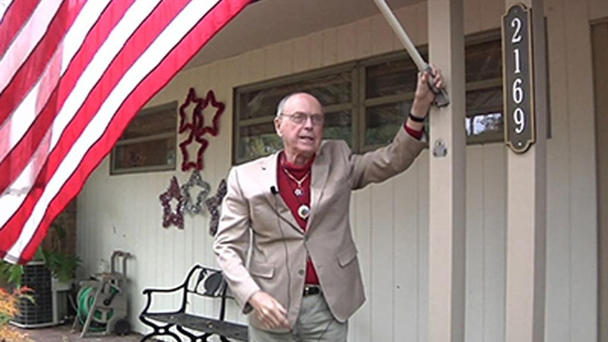 In this image taken from video shows Rupert Starr, a 92-year-old World War II veteran and ex-prisoner of war who is continuing his activism in support of military service members who, like him, are gay. (AP Photo/APTN)