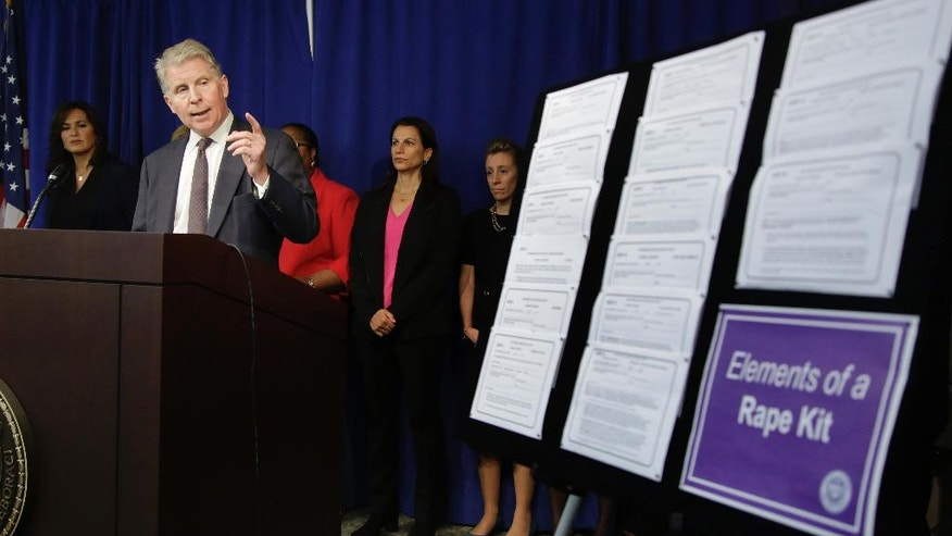 Manhattan district attorney Cyrus Vance Jr. talks about the $35 million he is pledging in funding to eliminate the backlog of untested rape kits in New York City, the state and across the country during a news conference, Wednesday, Nov. 12, 2014, in New York. Evidence from up to 70,000 rape cases nationwide will get long-awaited DNA testing. Experts estimate hundreds of thousands of rape kits — swabs and specimens gathered during exams victims undergo after attacks — remain to be tested for genetic evidence that could identify or eliminate a suspect. (AP Photo/Julie Jacobson)