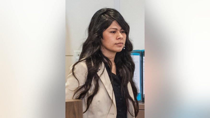 FILE - Vanesa Zavala enters court in Santa Ana, Calif., in this Wednesday morning, July 9, 2014 file photo. Zavala and Candace Brito were convicted earlier this year of voluntary manslaughter and assault in the death of a third woman who died after a brawl outside a popular California nightclub face up to 11 years in state prison at their sentencing hearing Friday Nov. 14, 2014. (AP Photo/The Orange County Register, Mark Rightmire, Pool, File)