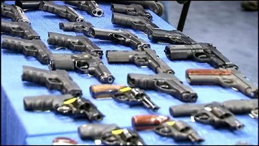 November 19, 2014: This photo shows some of the guns seized from a firearm-smuggling ring that used discount bus lines to transport weapons from Florida to New York (MyFoxNY.com)