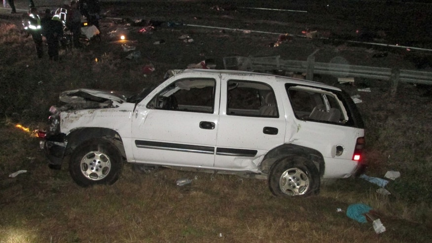 Nov. 20, 2014: This photo provided by the Louisiana State Police shows the wreckage of a sport utility vehicle that was involved in an accident that killed five people in Calhoun, La.