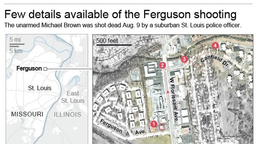Graphic locates events surrounding Michael Brown's death.; 2c x 5 inches; 96.3 mm x 127 mm;