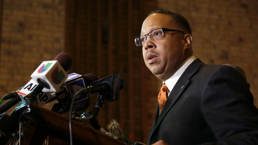 Nov. 21, 2014: Anthony Gray, attorney for the family of Michael Brown, speaks during a news conference