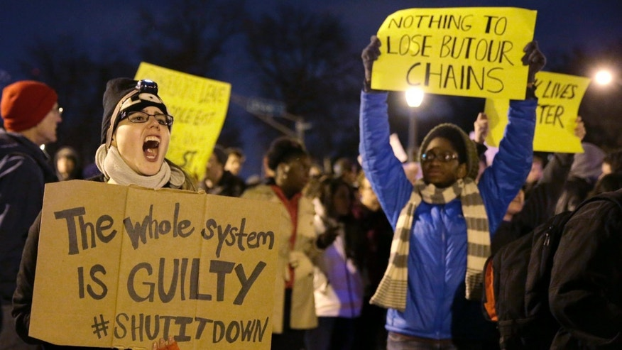Nov. 24, 2014: Protesters block streets after the announcement of the grand jury decision