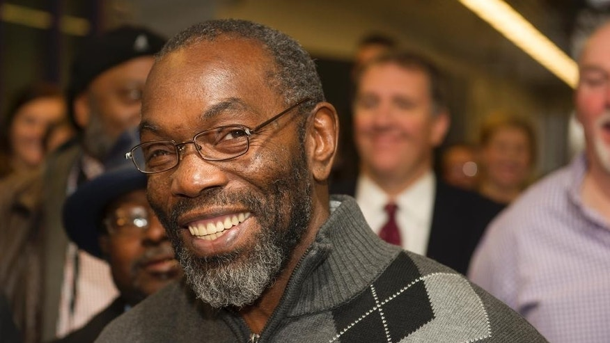 Ricky Jackson, 57, of Cleveland, smiles as he speaks with reporters, after being released from a life sentence an hour earlier, by Cuyahoga County Common Pleas Judge Richard McMonagle, Friday, Nov. 20, 2014 in Cleveland. The dismissal came after the key witness against Jackson and brothers Wiley and Ronnie Bridgeman recanted last year and said Cleveland police detectives coerced him into testifying that the three killed businessman Harry Franks the afternoon of May 19, 1975.  (AP Photo/Phil Long)