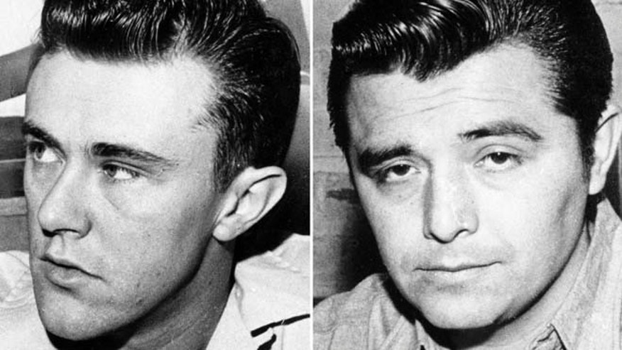 This combination made from undated file photos shows Richard Hickock, left, and Perry Smith, the two men hanged for the Nov. 15, 1959 murders of Herb and Bonnie Clutter and their children in Holcomb, Kan.