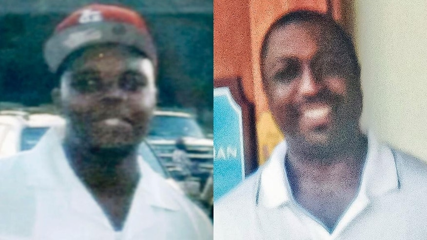FILE - This combination of undated photos provided by the Brown family and the Garner family via the National Action Network shows Michael Brown, left, the black 18-year-old who was fatally shot by a white police officer in Ferguson, Mo. in August 2014, and Eric Garner, who died after a white police officer had him in a chokehold in the Staten Island borough of New York in July 2014. The cases of Brown and Garner involve an unarmed black man killed by a white police officer in a confrontation over a relatively minor crime. But there are sharp differences, too, in the circumstances of the Aug. 9 and July 17 killings. (AP Photo/Brown Family, Garner Family via National Action Network)