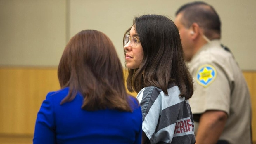 Jodi Arias stands next to her attorney, Jennifer Willmott,  during the sentencing phase at her trial at Maricopa County Superior Court in Phoenix on Thursday, Dec. 4, 2014. Arias was convicted of murder last year in the 2008 killing of ex-boyfriend Travis Alexander but jurors were unable to agree on a sentence. A new jury is hearing testimony on whether to grant prosecutors' request for the death penalty.  (AP Photo/The Arizona Republic, David Wallace, Pool)