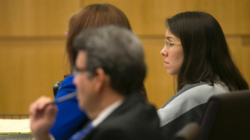 Jodi Arias looks on with her attorneys during the sentencing phase at her trial at Maricopa County Superior Court in Phoenix on Thursday, Dec. 4, 2014. Arias was convicted of murder last year in the 2008 killing of ex-boyfriend Travis Alexander but jurors were unable to agree on a sentence. A new jury is hearing testimony on whether to grant prosecutors' request for the death penalty.  (AP Photo/The Arizona Republic, David Wallace, Pool)