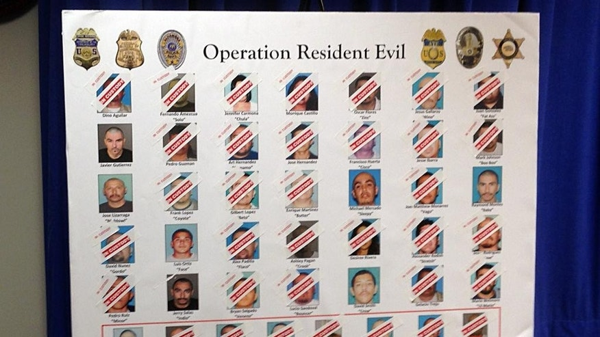 A poster showing the crossed-out faces of those arrested, and of a few who weren't, is seen at a news conference after law enforcement officers raided homes on the east side of Los Angeles, searching for Big Hazard gang members with ties to the Mexican Mafia who have been indicted on federal racketeering charges,  in Los Angeles Wednesday, Dec. 10, 2014. The indictment named 38 suspected members of the Big Hazard gang who are accused of crimes ranging from drug dealing to robbery to murder. The raids led by the FBI and Los Angeles police nabbed 28 of those named in the indictment, FBI spokeswoman Laura Eimiller said. (AP Photo/Brian Melley)