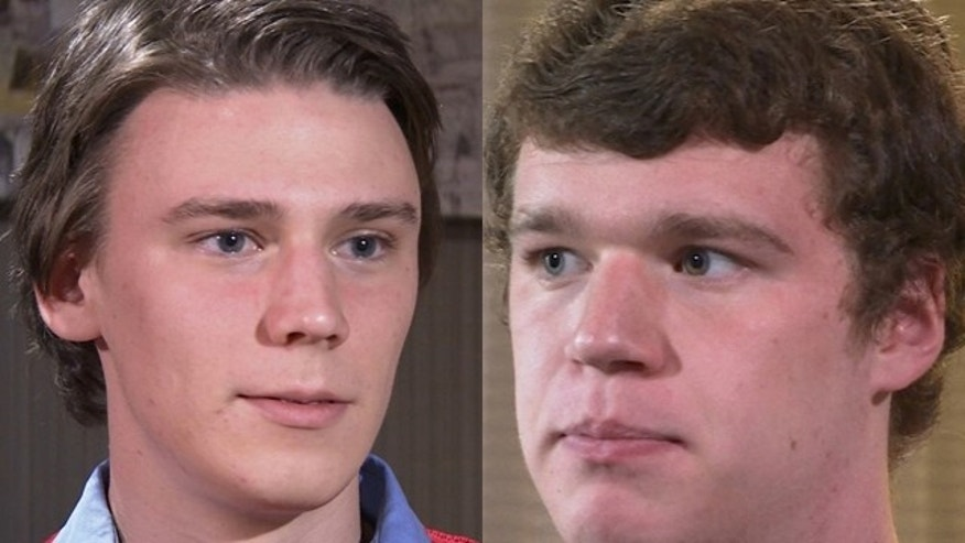 December 13, 2014: In these images taken from video, University of Virginia students Alex Stock, left, and Ryan Duffin talk during an interview with The Associated Press in Charlottsville, Va. (AP Photo)