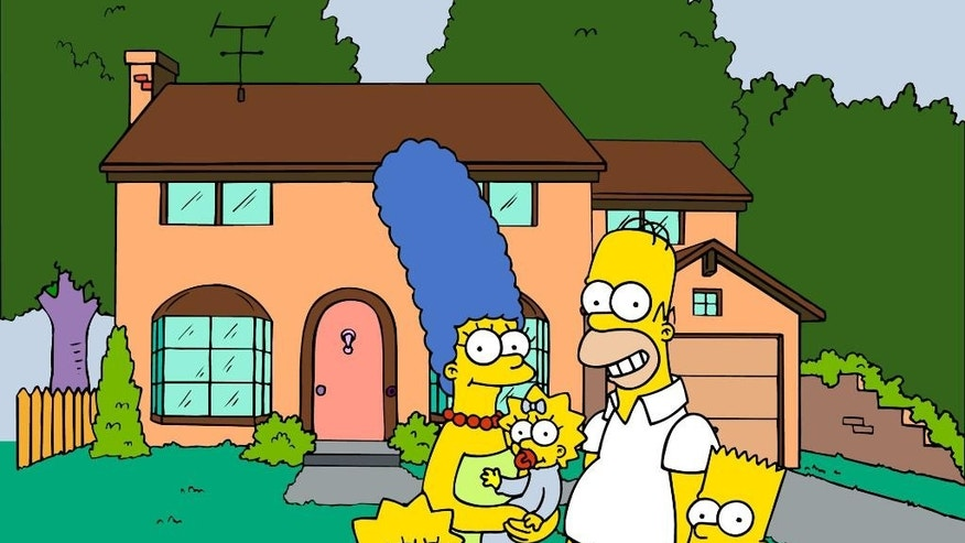 "FILE - This undated image from files, provided by Fox Broadcasting from ""The Simpsons,"" shows the popular cartoon family posing in front of their home, from left, Lisa , Marge , Maggie, Homer and Bart Simpson.  University students have been studying Homer's ""The Odyssey"" for centuries. More recently, Homer Simpson's ""Odyssey,"" and a quarter-century of episodes from the animated sitcom have been undergoing similar scrutiny at several college campuses around the country. (AP Photo/Fox Broacasting Co., File) 1998 FOX BROADCASTING"