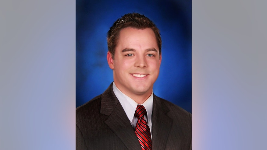 This image provided by KCEN-TV shows an undated photo of KCEN-TV's meteorologist Patrick Crawford. Authorities from multiple law enforcement agencies are combing the area around a remote Central Texas television studio where the morning meteorologist was shot in a parking lot Wednesday Dec. 17, 2014 after an argument. Jim Hice, the station's news director, says Crawford was wounded in the shoulder and the abdomen. The shooter fled. No motive has been released. (AP Photo/KCEN-TV)