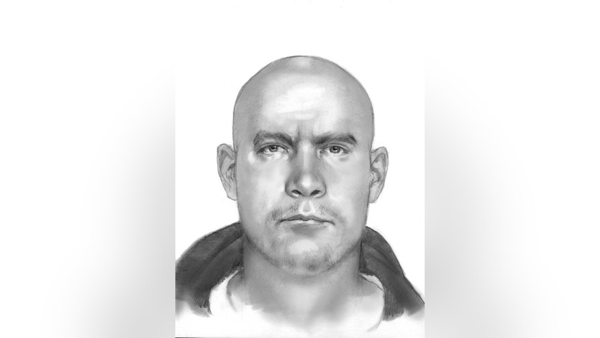 This sketch released by the Texas Department of Public Safety shows the man police are looking for in the shooting at at remote Central Texas television station, Thursday, Dec. 18, 2014, in Bruceville-Eddy, Texas. The station website reports the victim, on-air meteorologist Patrick Crawford, backed his car away from the shooter and drove up to a highway construction crew that called 911. Jim Hice, the station's news director, says Crawford was wounded in the shoulder and the abdomen. (AP Photo/Texas Department of Public Safety)
