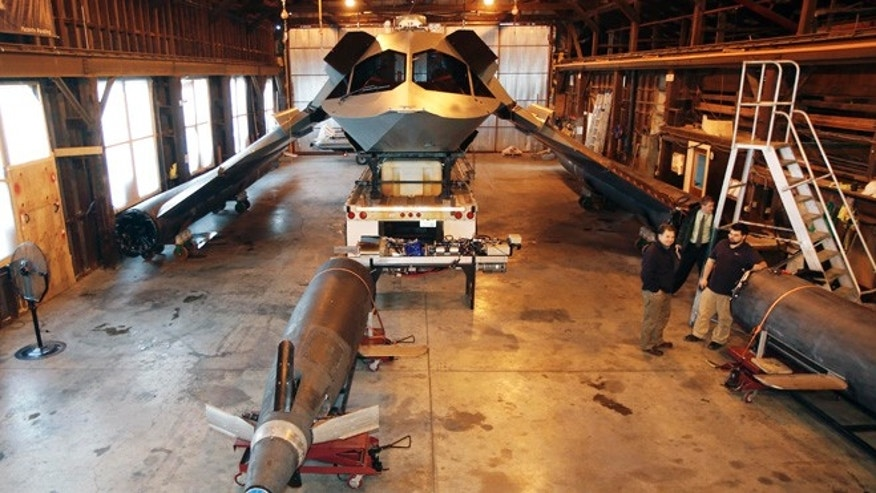 Dec. 15, 2014: In this photo, the newly designed warship vessel named Ghost sits in an old warehouse on the grounds of the Portsmouth Naval Shipyard in Kittery, Maine. (AP)