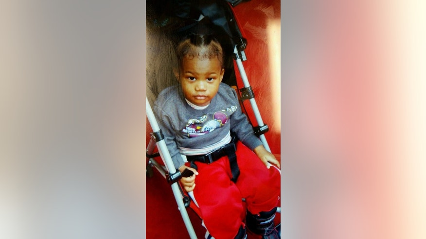 Cameron Beckford is seen in an undated photo provided by the Frederick, Md. Police Department. The mother accused of abandoning 14-month-old Cameron Beckford on the front porch of a stranger's home in Columbus, Ohio is scheduled to be arraigned Wednesday, Dec. 31, 2014, on a child endangerment charge. Dainesha Stevens admitted she and a male acquaintance left Cameron, last Friday, Dec. 26, because they could no longer care for the child. (AP Photo/Frederick, Md. Police Department)
