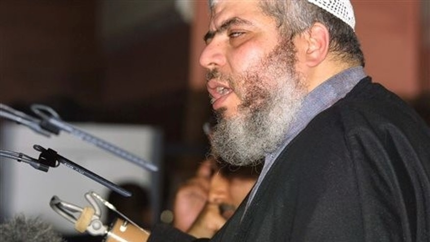 July 12, 2002: Radical cleric Mustafa Kamel Mustafa, then known as Sheik Abu Hamza al-Masri, addresses a fundamentalist Islamic conference in London condemning what he said was oppression of Muslims in the West.