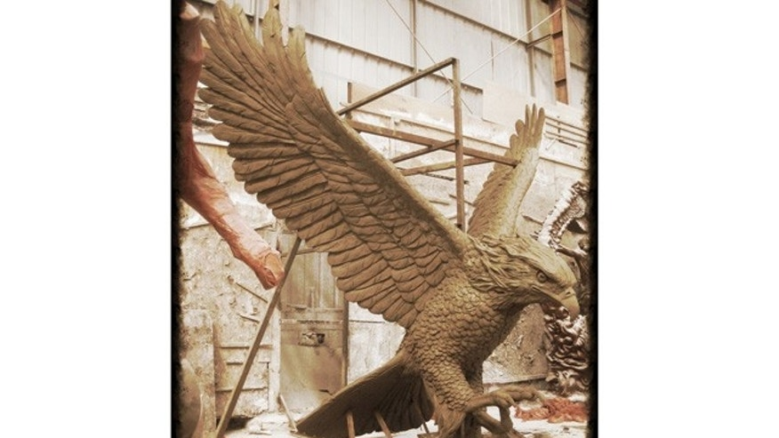 The clay model of the massive hawk statue is seen here in a photo provided by Hanlon Sculpture Studio.